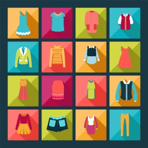 Store Clothing Icons - Illustration Department store clothing Fashion flat.