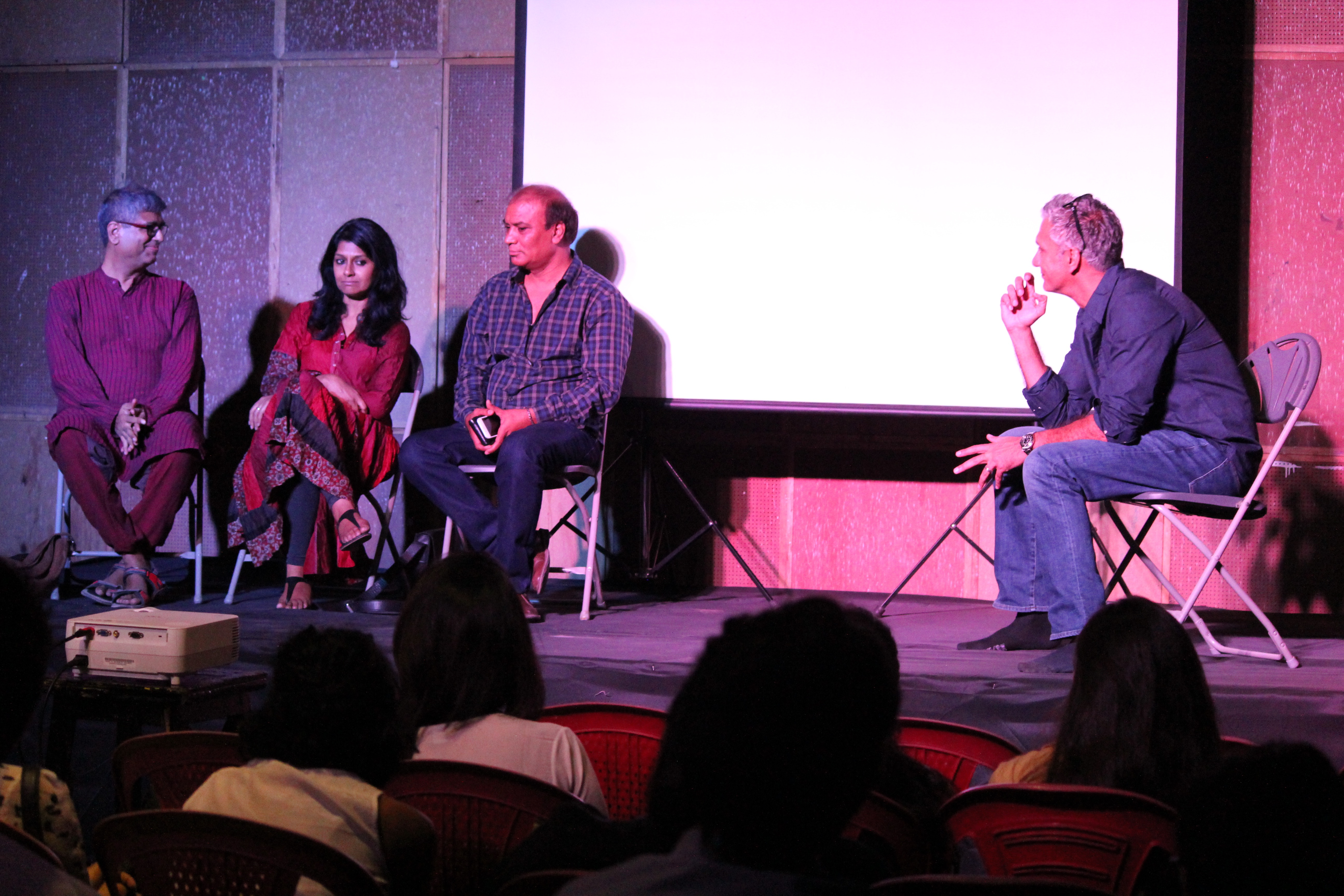 Dalip Sondhi, Director SIIDA with Mahesh Dattani, Nandita Das and Vipin Sharma at an acting demo session in Mumbai