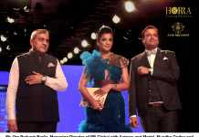 Mr. Om Pakash Berlia, Managing Director of PB Global with Actoress and Model, Mugdha Godse and Mr. Parimal Mehhta, Founder of Horra Luxury in Bombay Times Fashion Week