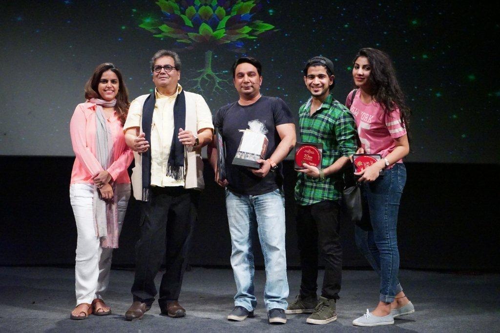 Meghna Ghai Puri, Subash Ghai and Ahmed Khan at 5th Veda- Whistling Woods International