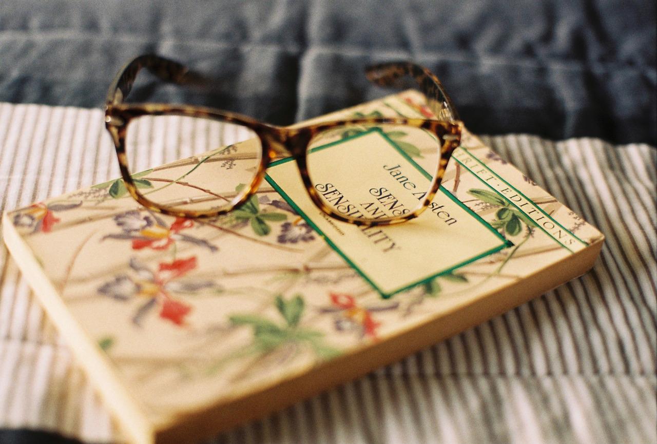 Reading glasses and novel