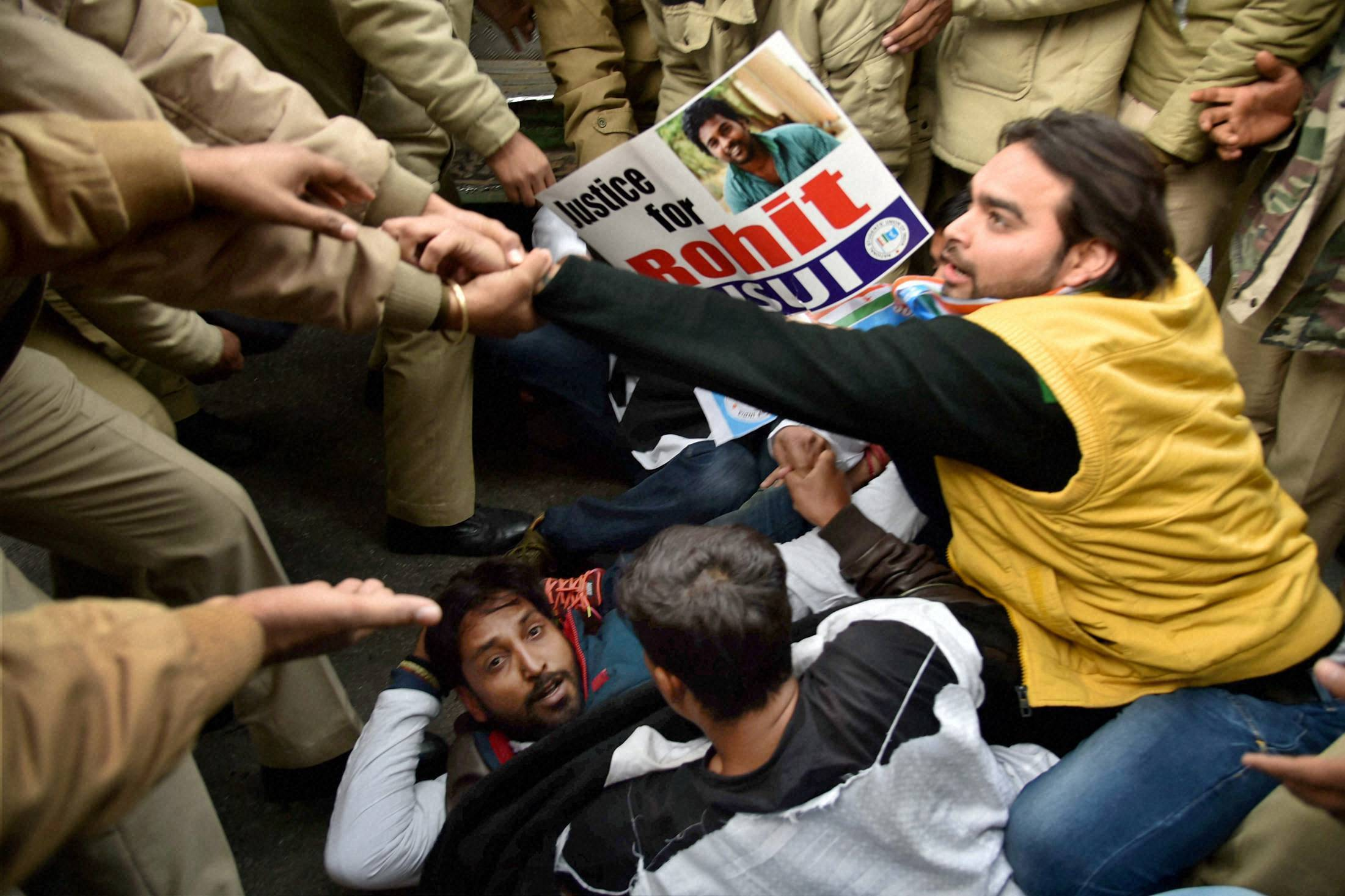 Students protest against HRD ministry