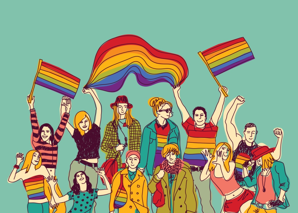 Lgbt happy gay meeting people group and sky. Color vector illustration.  EPS8 - Youth Incorporated Magazine