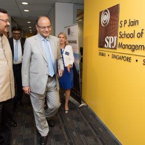 FM Arun Jaitley with Nitish Jain - President SP Jain School of Global Management at the SP Jain Global Sydney campus