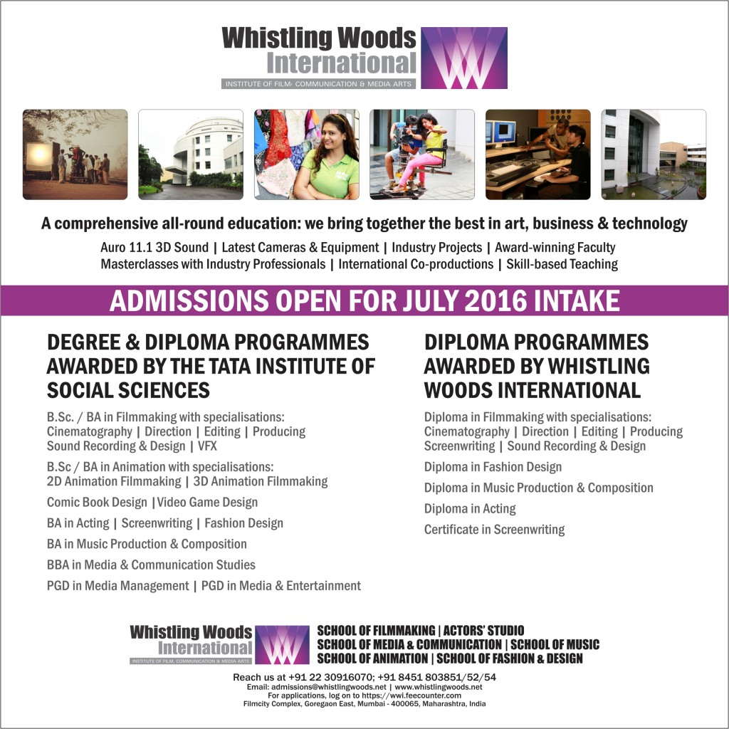 Whistling Woods International Admissions Open