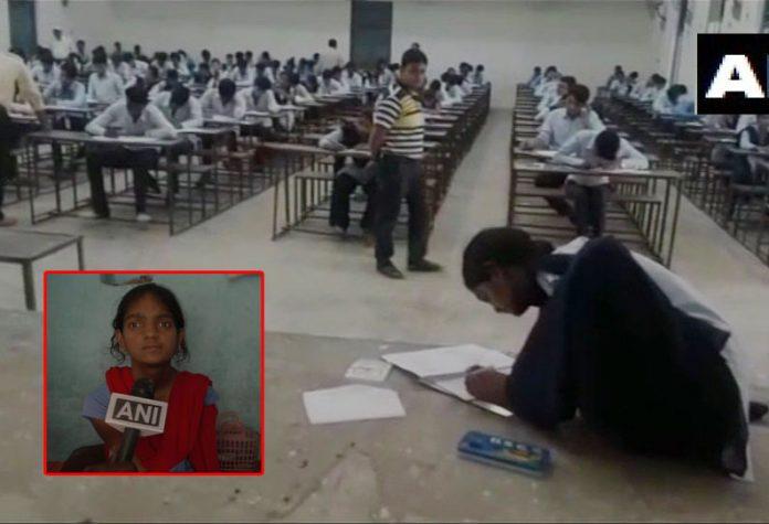 Mamata Patel writes exam with feets