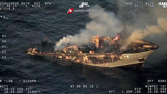 superyacht burns and sinks in the Mediterranean Sea