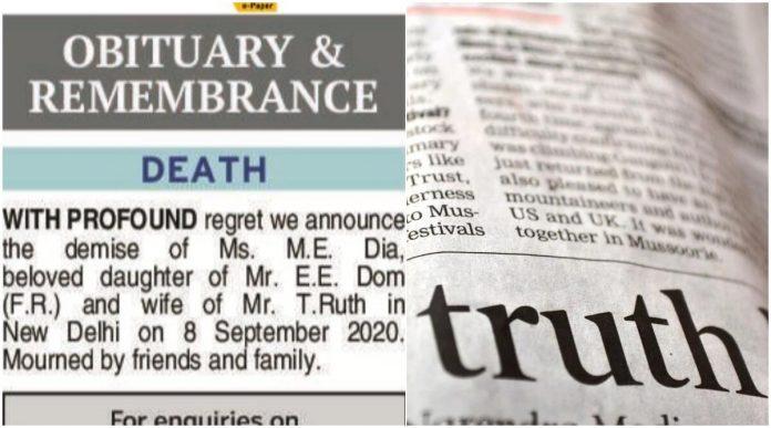 obituary, newspaper, death of media
