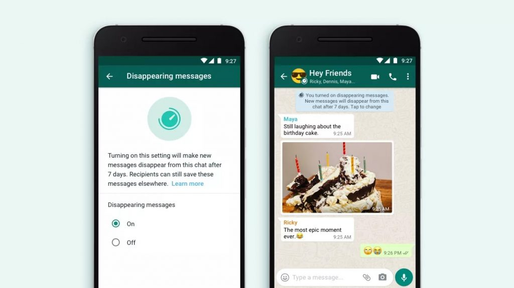 Disappearing messages feature of WhatsApp
